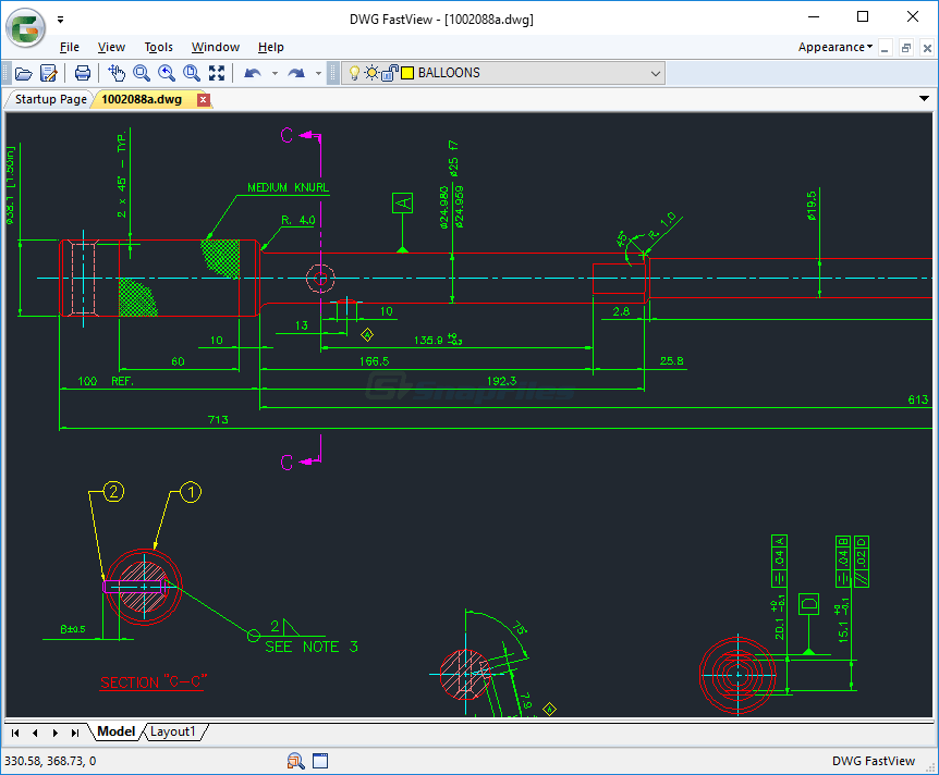 screen capture of DWG FastView