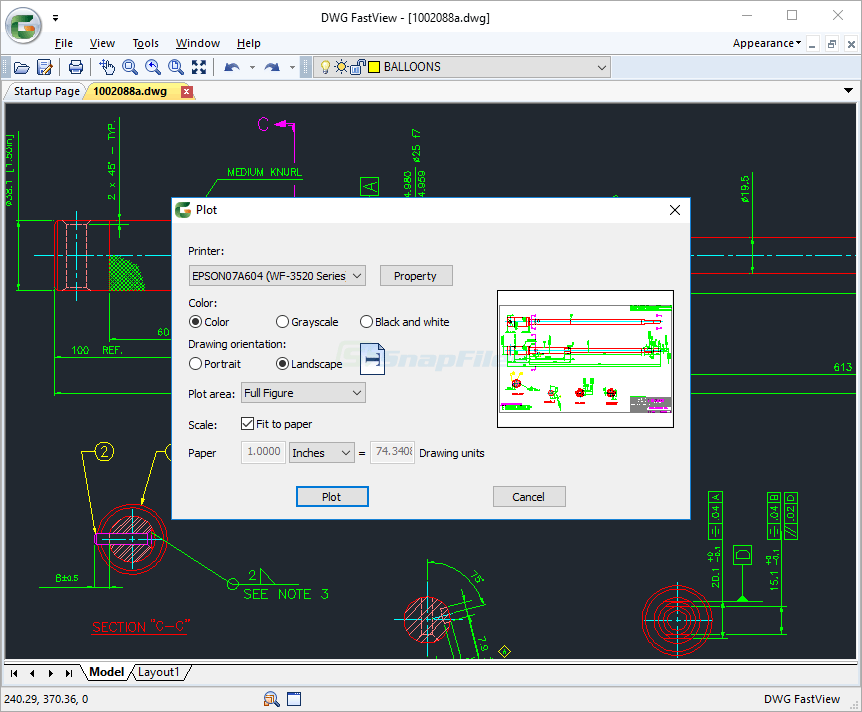 screenshot of DWG FastView