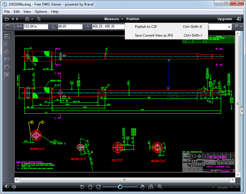 screenshot of Free DWG Viewer (Brava)