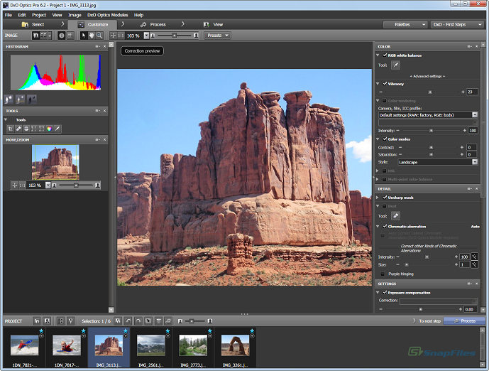 screen capture of DxO Optics Pro