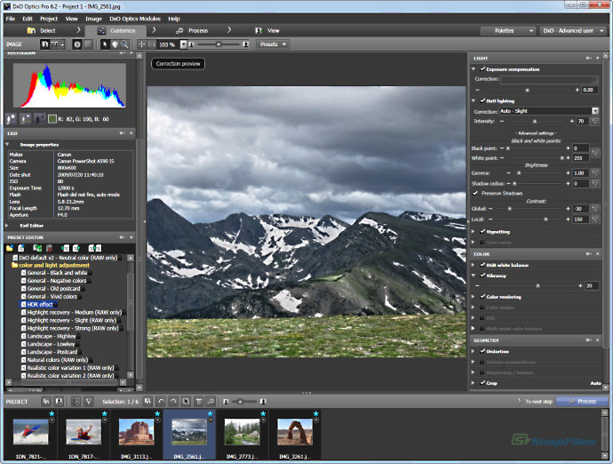 screenshot of DxO Optics Pro