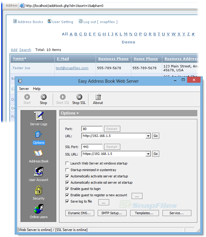 screen capture of Easy Address Book Web Server