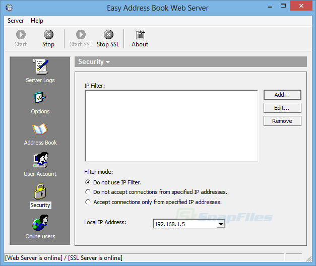 screenshot of Easy Address Book Web Server