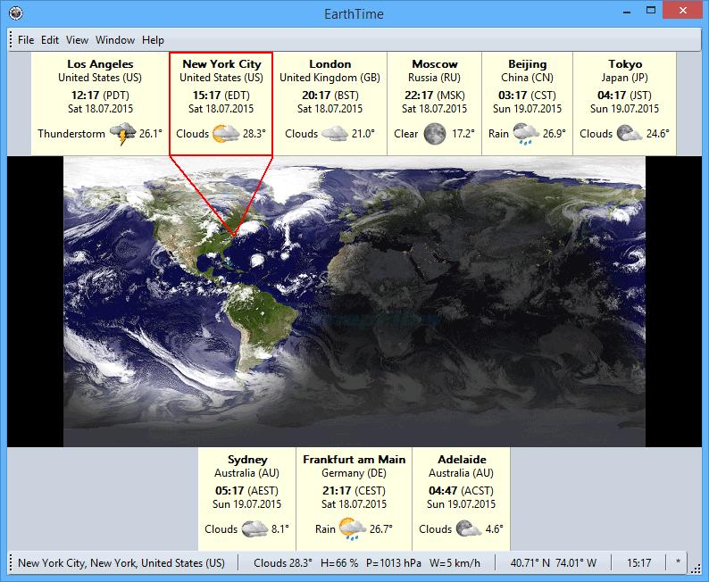 screen capture of EarthTime