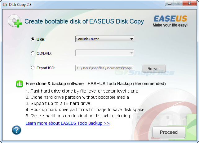 screenshot of EaseUs Disk Copy