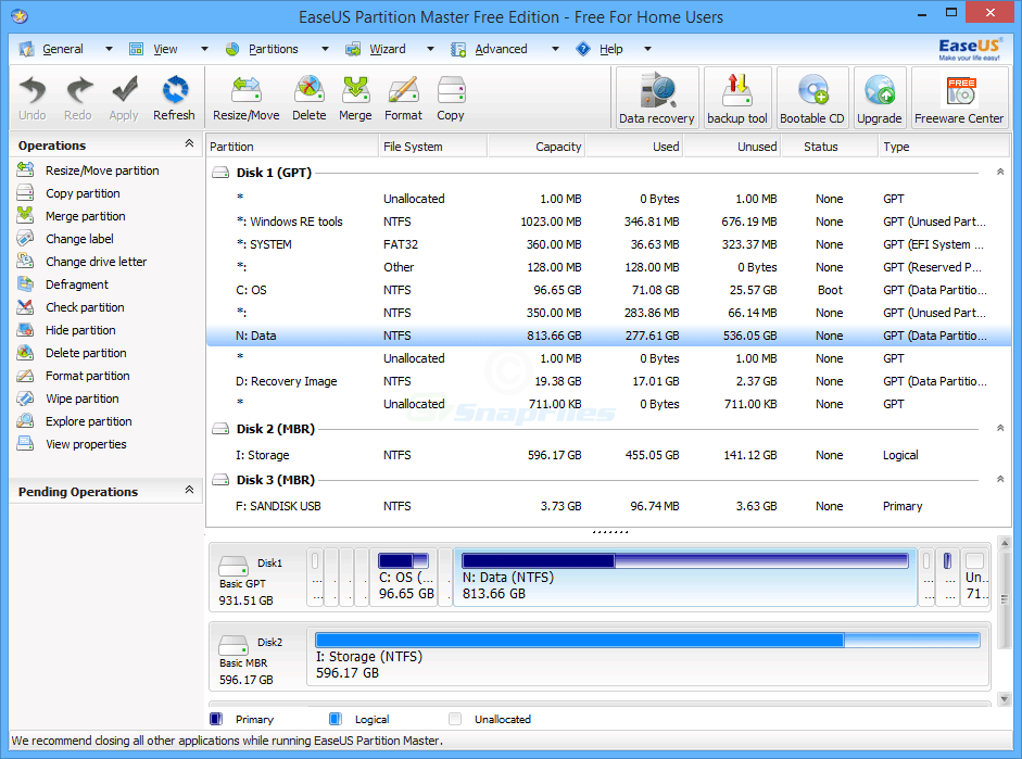 screen capture of EaseUS Partition Master