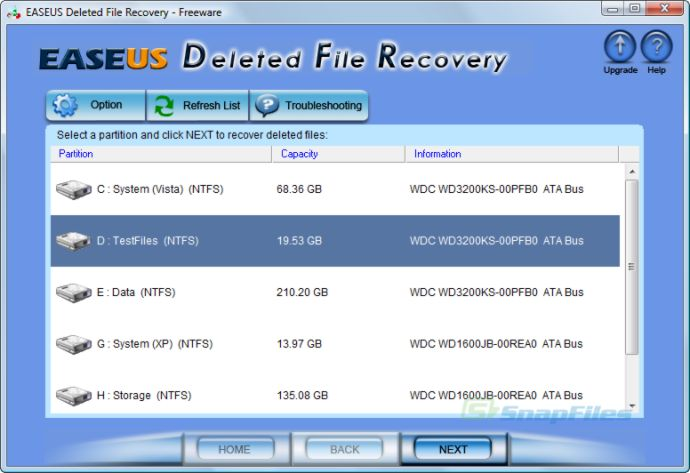 screen capture of EaseUS Deleted File Recovery