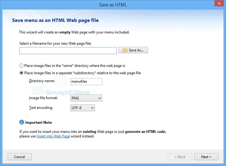 Easy CSS Menu Free Edition screenshot and download at