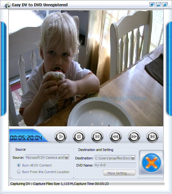 screen capture of Imtoo Easy DV to DVD