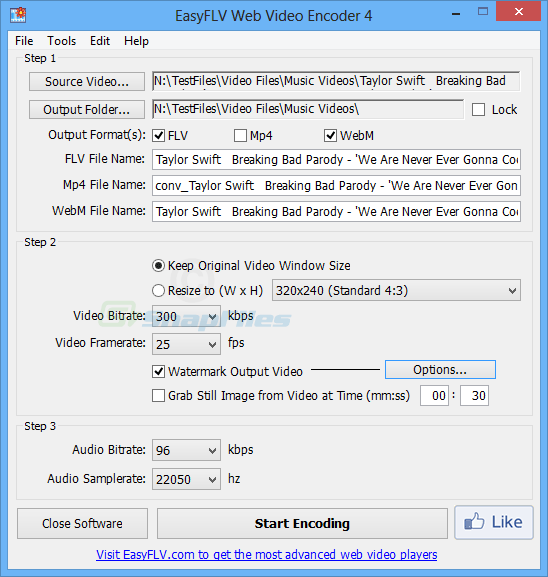 screen capture of EasyFLV Web Video Encoder