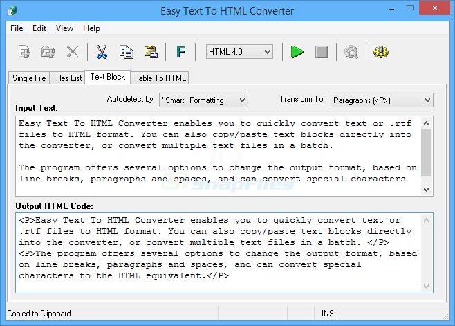 screen capture of Easy Text To HTML Converter
