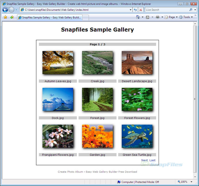 screenshot of Easy Web Gallery Builder
