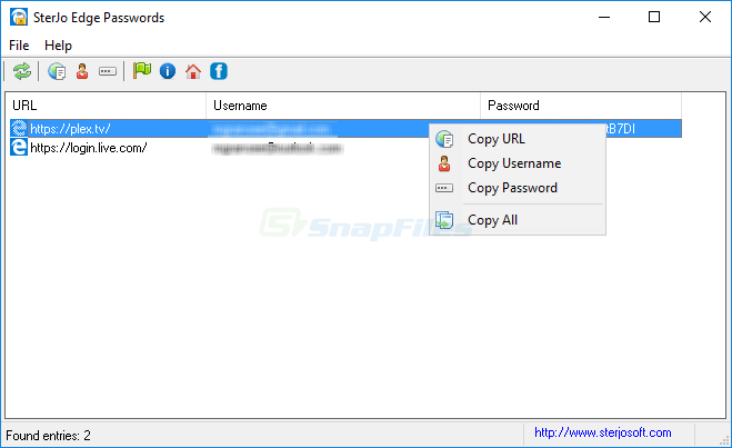screen capture of SterJo Edge Passwords