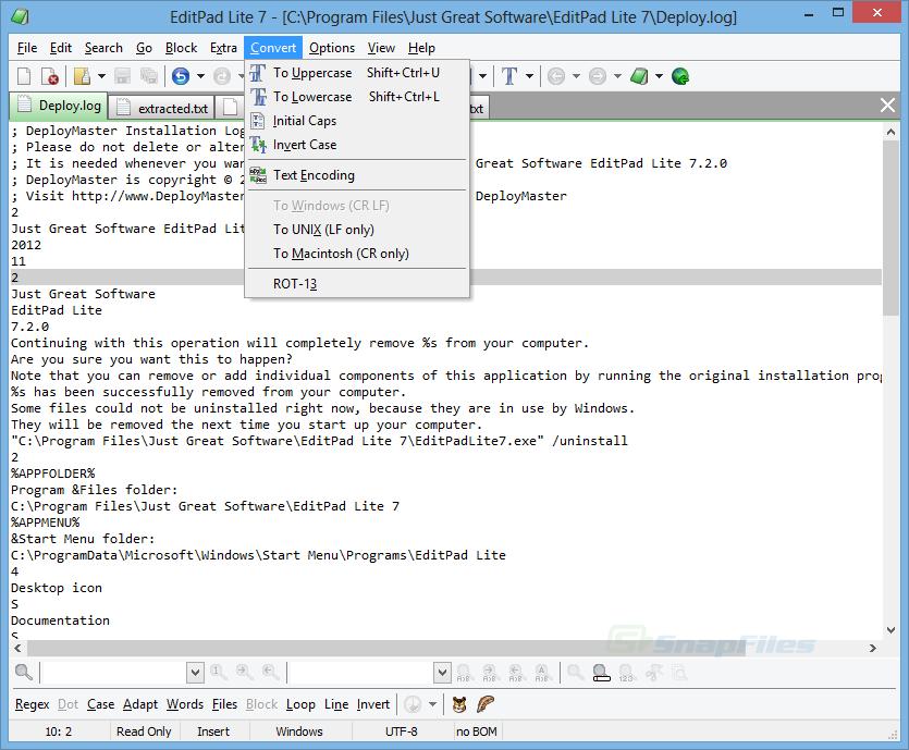 screen capture of EditPad Lite