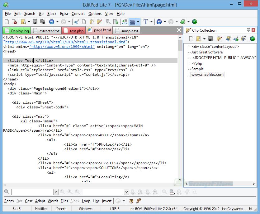 screenshot of EditPad Lite