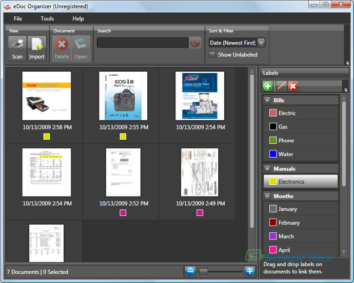 screen capture of eDoc Organizer