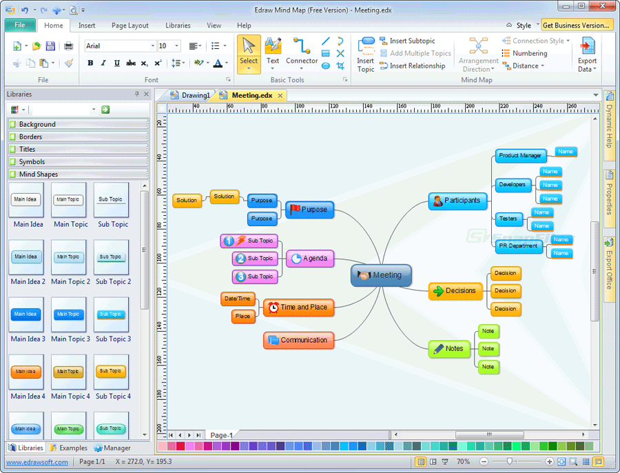 screen capture of Edraw Mind Map