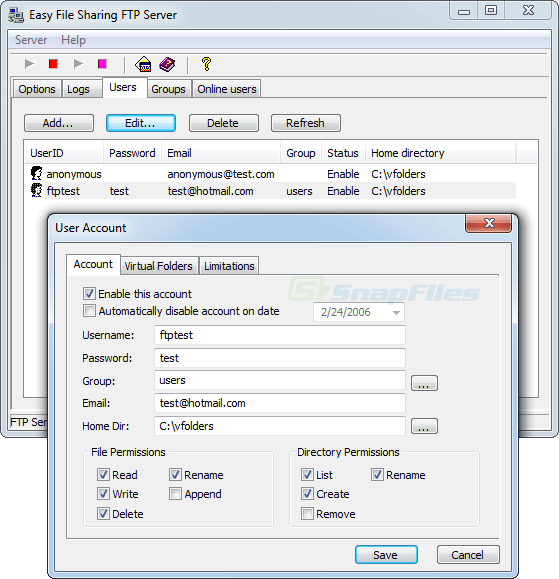screenshot of Easy File Sharing FTP Server