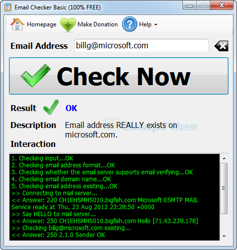 screen capture of Email Checker Basic