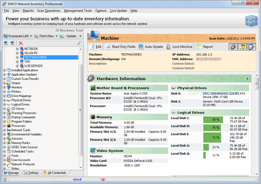 screen capture of EMCO Network Inventory Pro