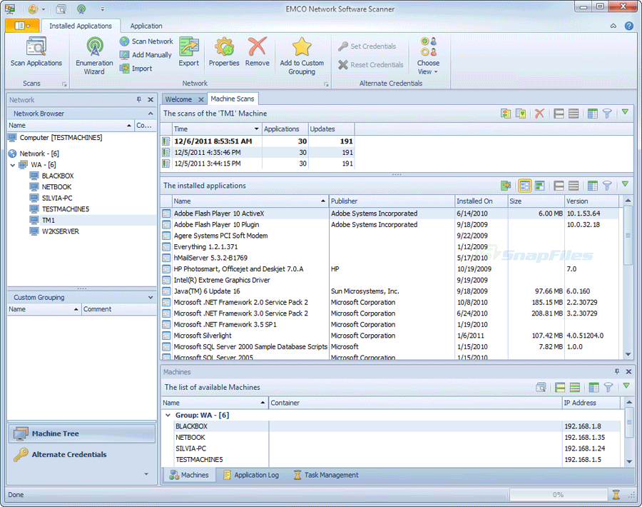 screen capture of EMCO Network Software Scanner