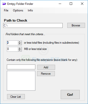 screen capture of Empty Folder Finder