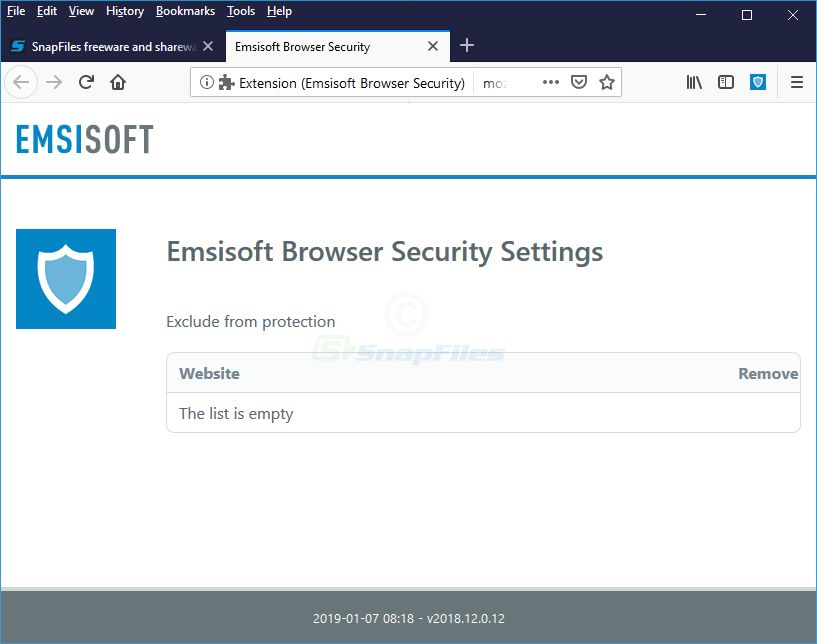screenshot of Emsisoft Browser Security for Firefox