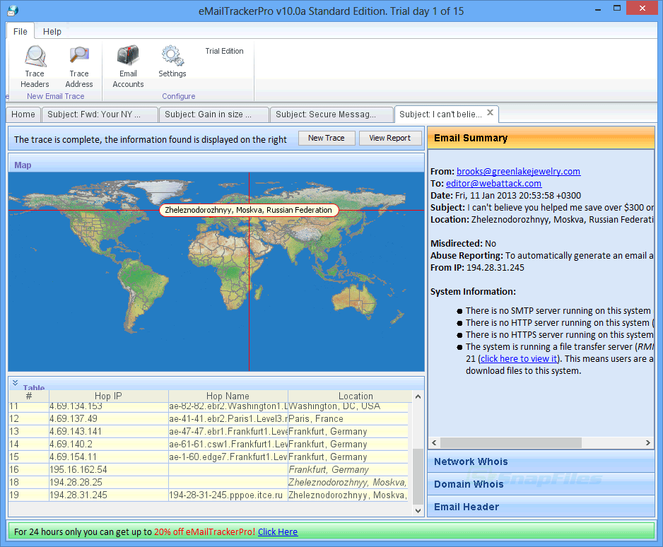 screen capture of eMailTrackerPro