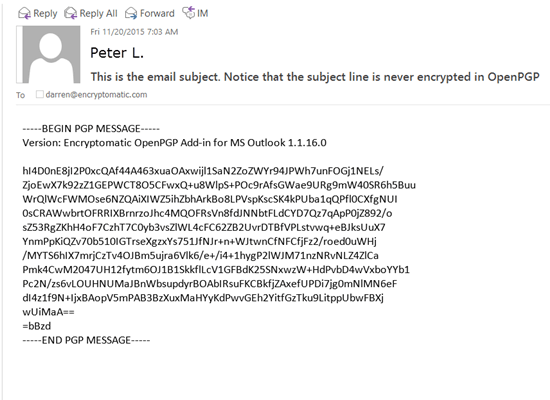screenshot of Encryptomatic OpenPGP for Outlook