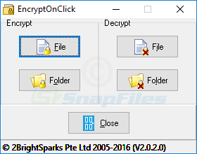 screen capture of EncryptOnClick