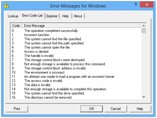 screenshot of Error Messages for Windows