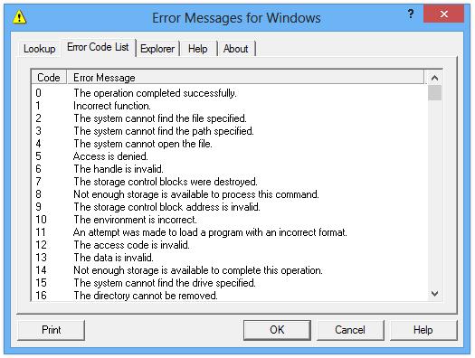 screenshot of Error Messages for Windows