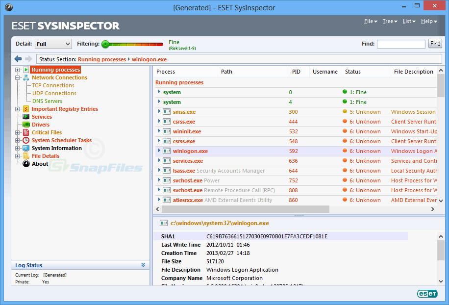screen capture of ESET SysInspector
