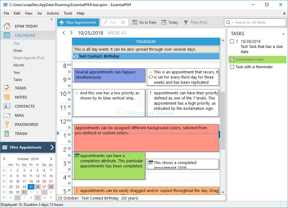 screen capture of EssentialPIM Pro
