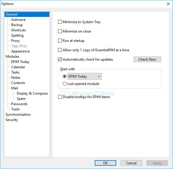 screenshot of EssentialPIM Pro