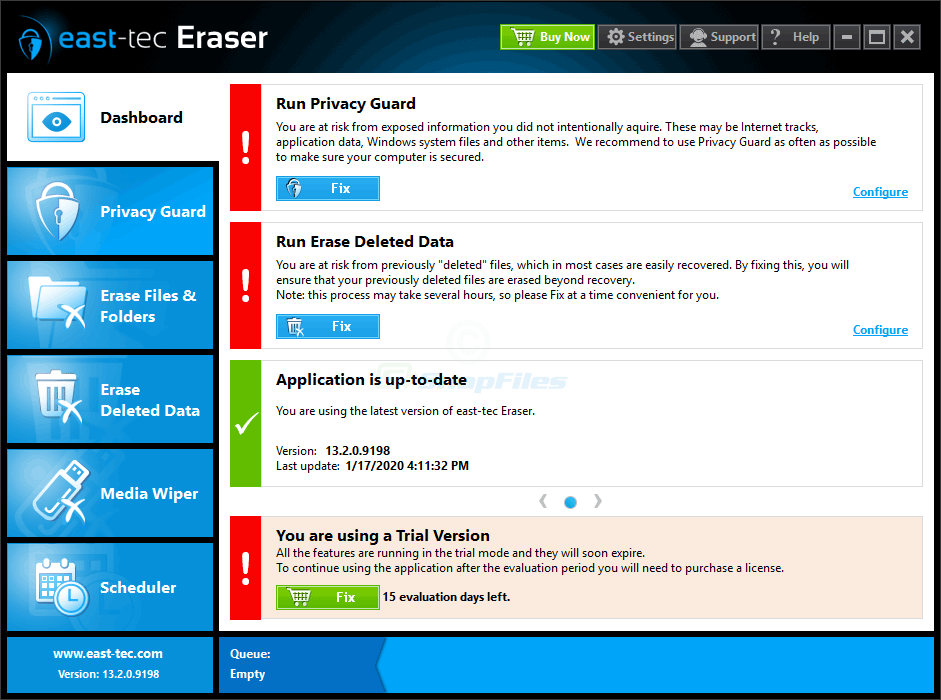 screen capture of east-tec Eraser