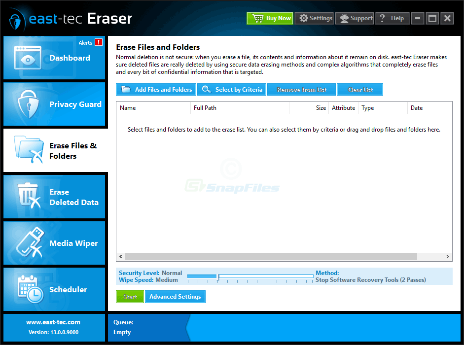 screenshot of east-tec Eraser