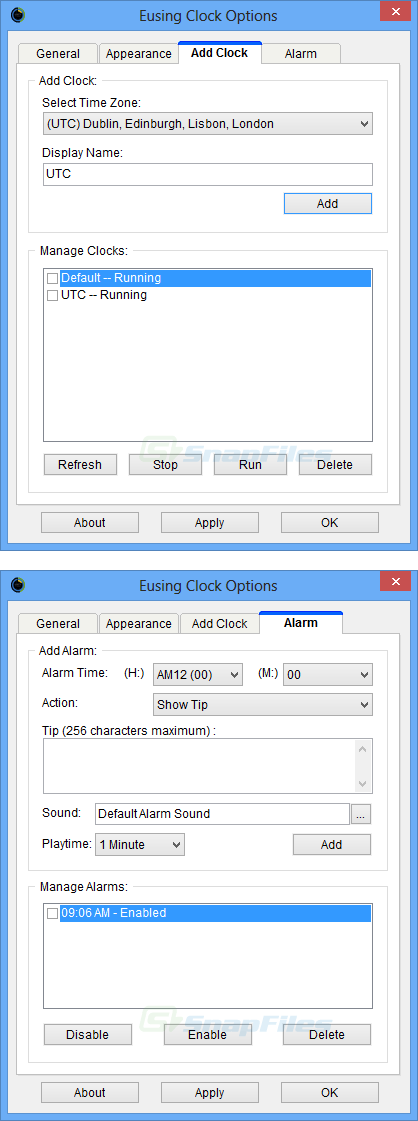 screenshot of Eusing Clock