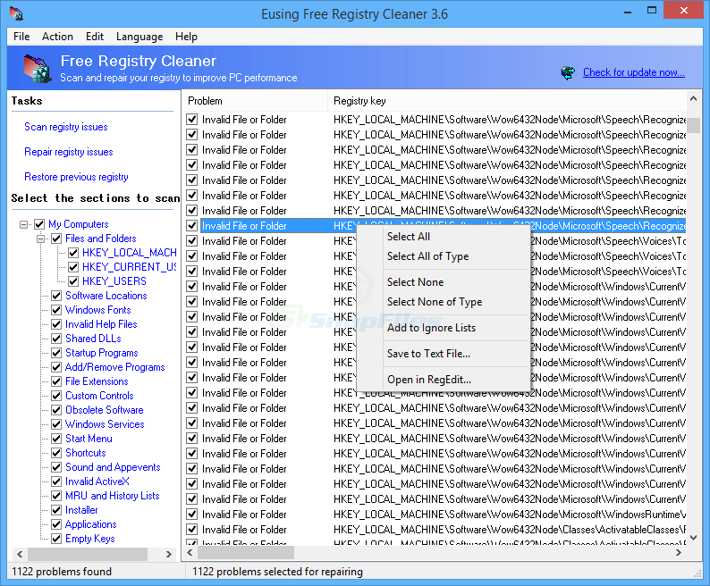 screen capture of Eusing Free Registry Cleaner