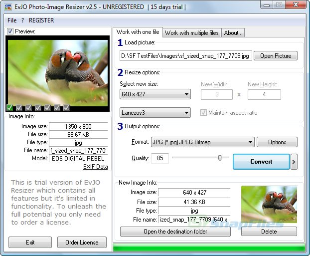 screen capture of EvJO Photo-Image Resizer