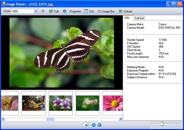 screen capture of EXIF Browser