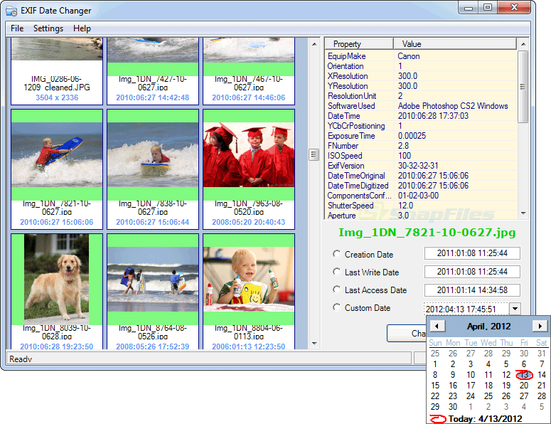 screen capture of EXIF Date Changer
