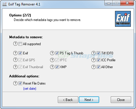 screenshot of Exif Tag Remover
