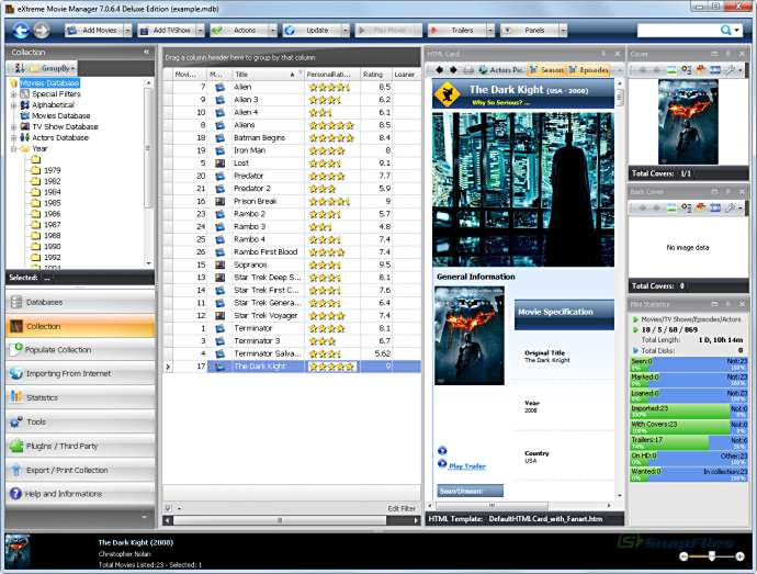 screen capture of eXtreme Movie Manager