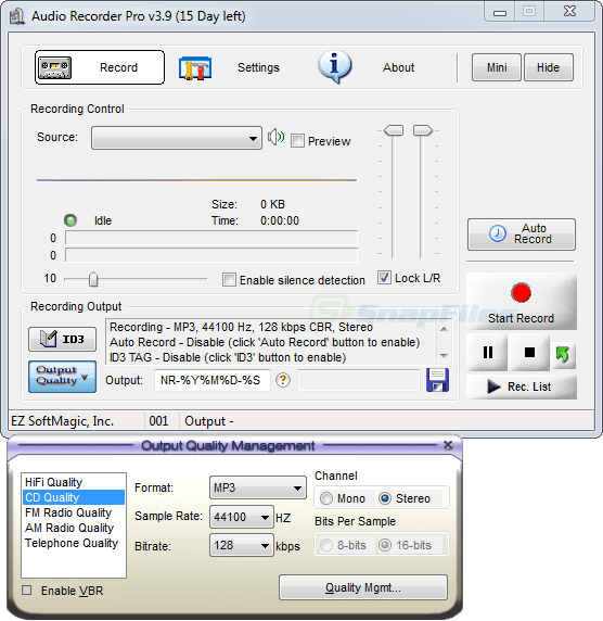 screen capture of EZ SoftMagic Audio Recorder Pro
