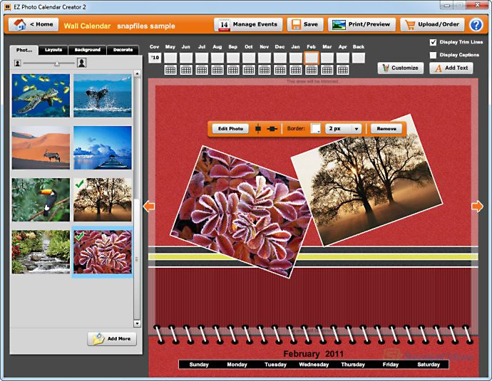 screen capture of EZ Photo Calendar Creator