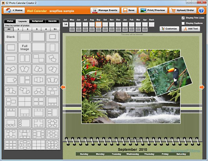 screenshot of EZ Photo Calendar Creator