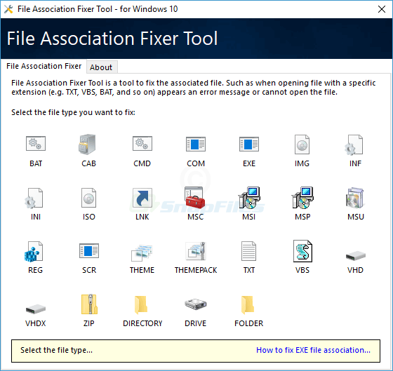 screen capture of File Association Fixer Tool