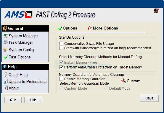 screenshot of Fast Defrag Standard