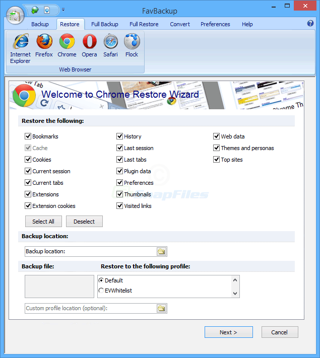 screenshot of FavBackup